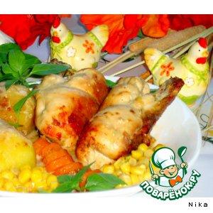 Рецепт Куриное филе на косточке, с грибами и сыром