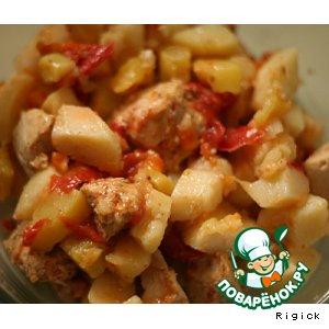 Рецепт Куриное филе с овощами в мультиварке
