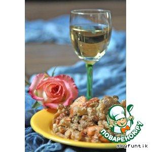 Рецепт Семга с овощным гарниром в сливочно-грибном соусе