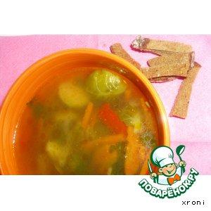 """Рецепт Суп с брюссельской капустой """"Лето в блюдце"""""""