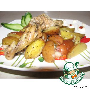 Рецепт Картофель, запеченный с куриными крылышками
