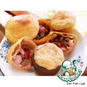 Рецепт Ароматное  жаркое из телятины с клюквой в овощных и фруктовых горшочках