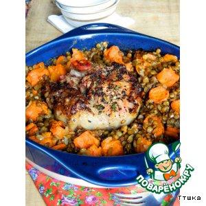 Рецепт Свинина, запеченная с чечевицей и овощами