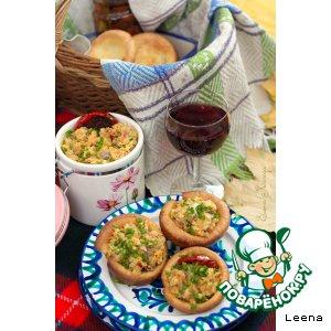 Рецепт Закуска из красной чечевицы и копченой рыбы в йоркширских пудингах