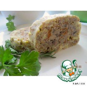 Рецепт Гречнево-сырный рулет с грибами