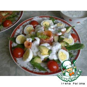 Рецепт Салат с рукколой, авокадо и семгой с двумя видами заправки