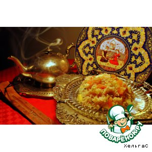 Рецепт Золотой Басмати Рис с яблоками и абрикосами