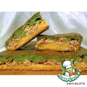 Рецепт Зелено-желтый пирог с куриной начинкой