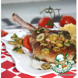 Рецепт Мясо с оливками и кедровыми орешками