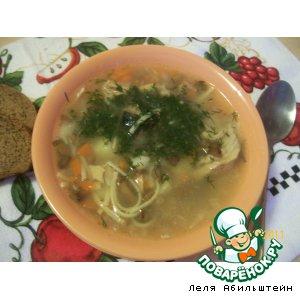 Рецепт Рыбный супчик с лесными грибами и вермишелью