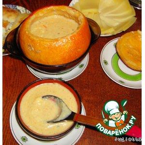 Рецепт Сырный суп в тыковке
