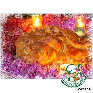 """Рецепт Новогодний пирог """"Дракон"""" с двумя видами мяса и грибами"""