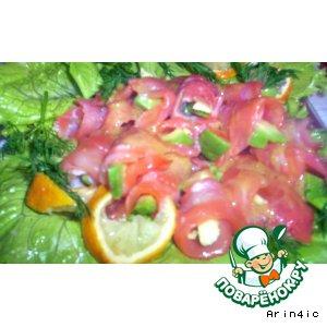 Рецепт Салат с лососем и авокадо