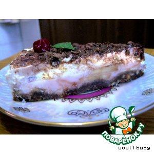 Рецепт Двухслойный воздушный, нежный торт без выпечки