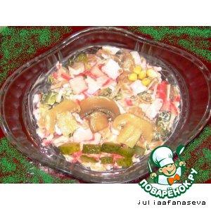 Рецепт Грибной салат с корнишонами