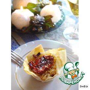 Рецепт Корзиночки из теста фило с рисом, сыром и вялеными помидорами