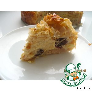 Рецепт Яблочный пирог с кремом из теста фило