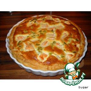 Рецепт Открытый пирог с лососем и спаржей