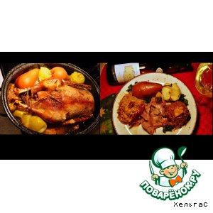 Рецепт Гусь с яблоками и тушeнной квашенной капустой, с тмином и белым вином