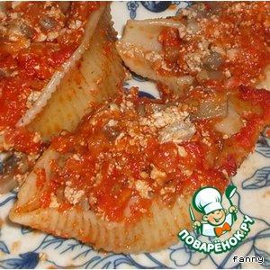 Рецепт Фаршированные ракушки под томатным соусом