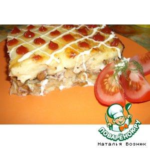 Рецепт Картофельная  запеканка с лисичками и курицей