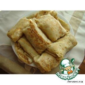 Рецепт Блинчики с начинкой из куриной печенки и яиц с луком