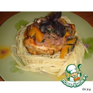 Рецепт Куриные грудки с персиком и базиликом