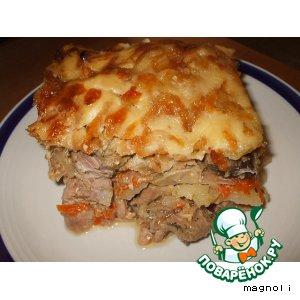 Рецепт Мясо, запеченное с грибами и сыром