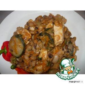 Рецепт Фасоль с курицей и кабачками