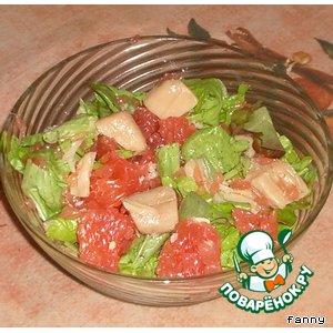 Рецепт Салат из грейпфрутов и гребешков