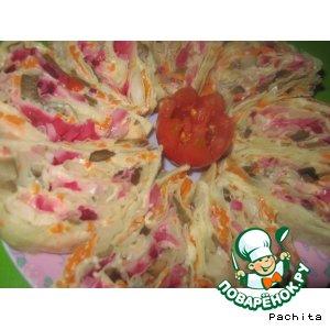 Рецепт Рулет из армянского лаваша с овощами по-корейски