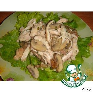 Рецепт Теплый салат с курицей и грибами