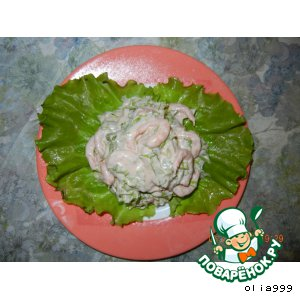 Рецепт Салатик с креветками и чесночком