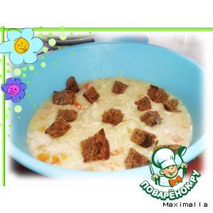 Рецепт Молочно-сырный суп с тыквой и куриными фрикадельками