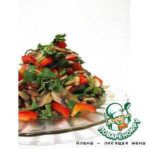Рецепт Салат из шампиньонов с заправкой из сала