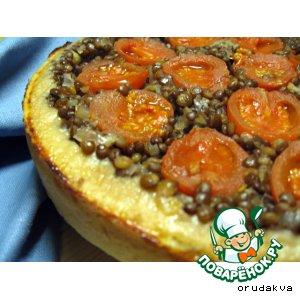 Рецепт Перевернутый пирог с помидорами и чечевицей
