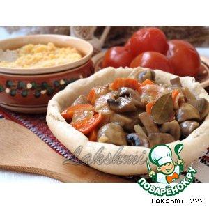 Рецепт Грибной гуляш в хлебных тарелочках