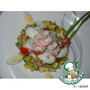 Рецепт Салатик с креветками и авокадо