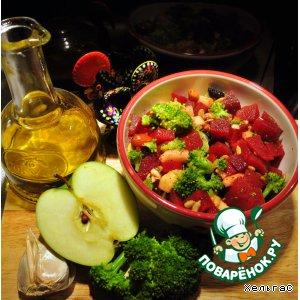 Рецепт Салат из свеклы и брокколи с яблоком и орехами - весеннее пробуждение