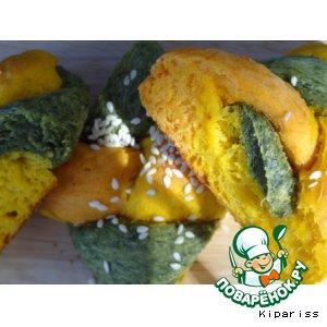 Рецепт Трехцветные булочки-косички
