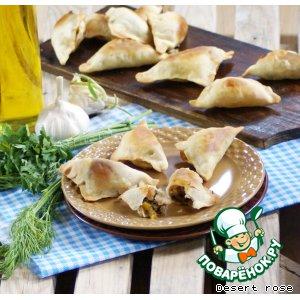 Рецепт Слоеные пирожки с тунцом и овощами