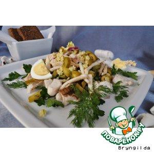 Рецепт Теплый салат из кальмаров, минтая и орзо