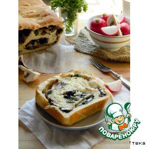 Рецепт Постный хлеб с начинкой из грибов и красного лука