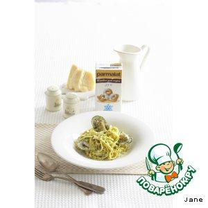 Рецепт Феттучине со сливочным соусом и мидиями