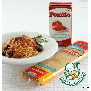 Рецепт Спагетти с анчоусами, маслинами и томатным соусом