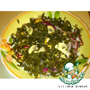 Рецепт Салат из морской капусты и грибами и грецкими орехами
