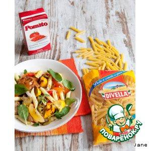 Рецепт Теплый салат с пенне и запеченными овощами
