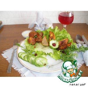 Рецепт Фаршированные шляпки шампиньонов с соевым сыром и с запеченной картошкой