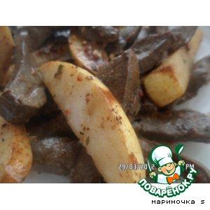 Рецепт Теплый салат из печени с грушей