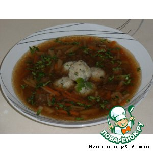 Рецепт Грибная юшка с рыбными фрикадельками